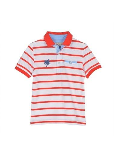 Silversun Kids Erkek Çocuk Düğmeli Çizgili Kısa Kollu Polo Yaka Tişört Bk 215419 Kırmızı
